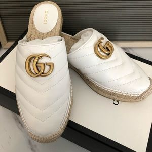 New in box white marmont leather gucci espadrilles